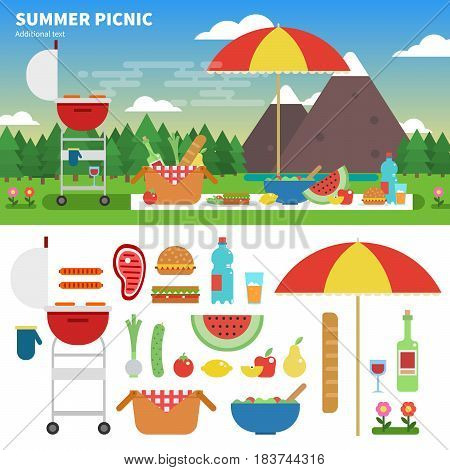 Geometric illustartion of summer picnic in the mountains. Rest and weekend concept. Umbrella, tablecloth, basket with food, fruits, grill amd meat isolated on white background