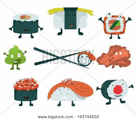 Sushi set on a white background. Sushi roll, ginger, wasabi. Japanese food. Cartoon Vector. Comic characters. Vector illustration