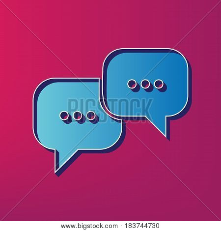 Speech bubbles sign. Vector. Blue 3d printed icon on magenta background.