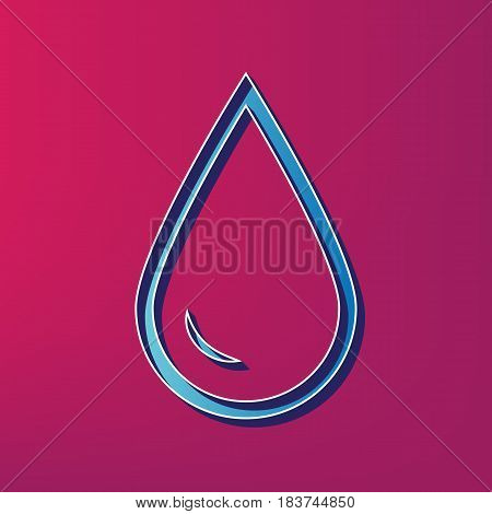 Drop of water sign. Vector. Blue 3d printed icon on magenta background.