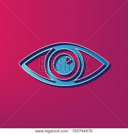 Eye sign illustration. Vector. Blue 3d printed icon on magenta background.