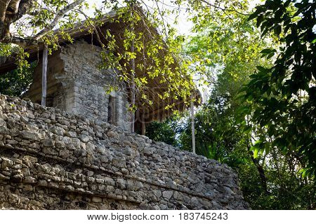Closeup view of the Temple of the Paintings in the Mayan ruins of Coba Mexico