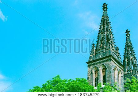 Spires of basilica in Vysehrad castle with copy space. Prague, Czech Republic.