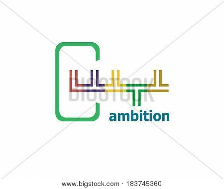 Text Ambitions. Business Concept . Abstract Emblem, Design Concept, Element For Template.