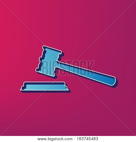 Justice hammer sign. Vector. Blue 3d printed icon on magenta background.