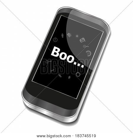 Text Boo. Social Concept . Smartphone With Web Application Icon On Screen . Isolated On White