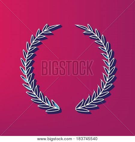 Laurel Wreath sign. Vector. Blue 3d printed icon on magenta background.