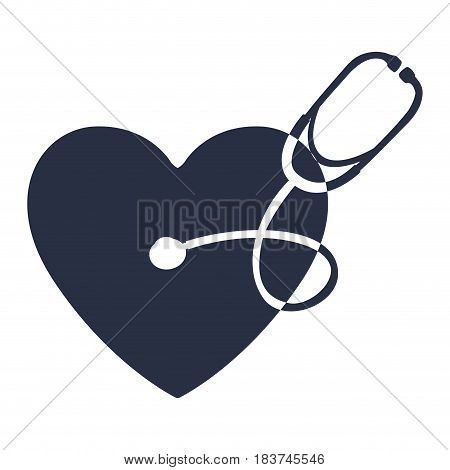 white background with dark blue symbol of heart with stethoscope vector illustration