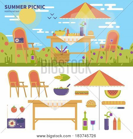 Geometric illustartion of summer picnic in the garden with flowers. Rest and weekend concept. Umbrella, table, chairs, food, fruits, wine and camera isolated on white background