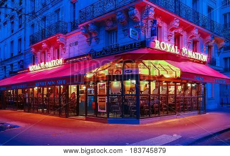 FranceParis-April 23 2017: The traditional french cafe Royal Nation located near Nation square in Paris France.
