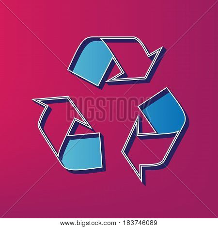 Recycle logo concept. Vector. Blue 3d printed icon on magenta background.
