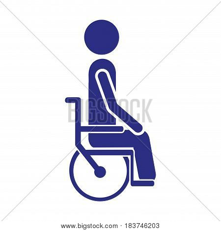 color silhouette person sitting in abstract wheelchair flat icon vector illustration