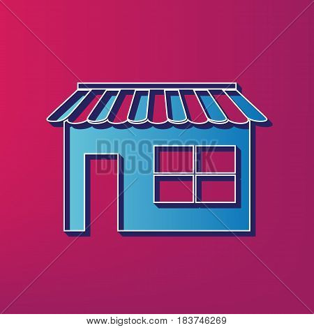 Store sign illustration. Vector. Blue 3d printed icon on magenta background.
