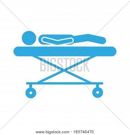 color silhouette pictogram lay down patient in stretcher clinical vector illustration