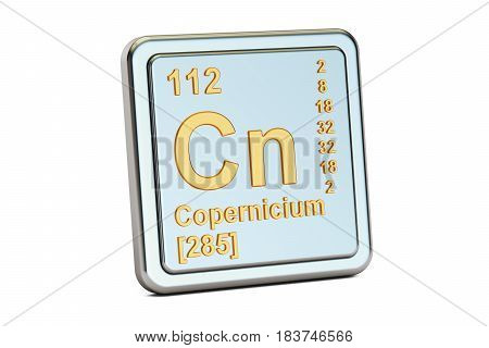 Copernicium Cn chemical element sign. 3D rendering isolated on white background