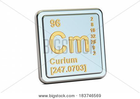 Curium Cm chemical element sign. 3D rendering isolated on white background