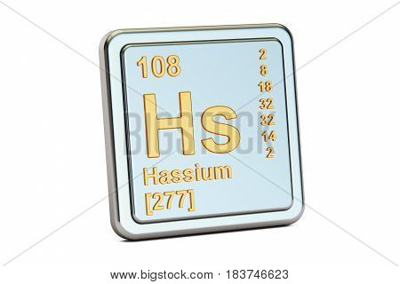 Hassium Hs chemical element sign. 3D rendering isolated on white background