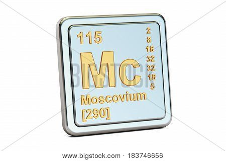 Moscovium Mc chemical element sign. 3D rendering isolated on white background