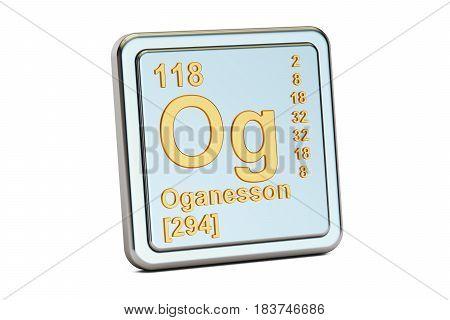 Oganesson Og chemical element sign. 3D rendering isolated on white background