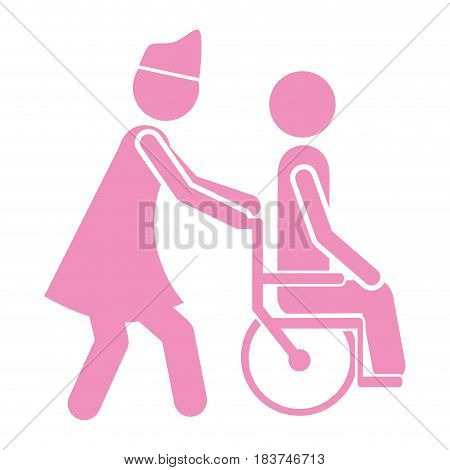 color silhouette nurse helping another person push a wheelchair vector illustration