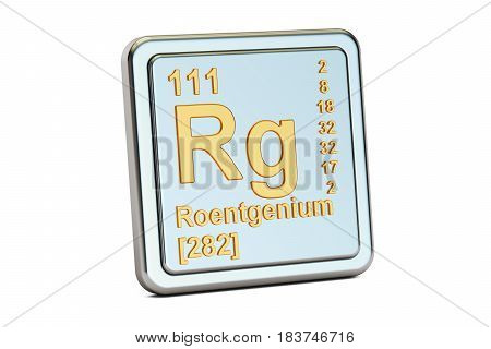 Roentgenium Rg chemical element sign. 3D rendering isolated on white background