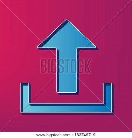 Upload sign illustration. Vector. Blue 3d printed icon on magenta background.