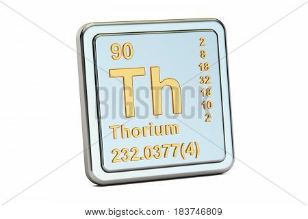 Thorium Th chemical element sign. 3D rendering isolated on white background