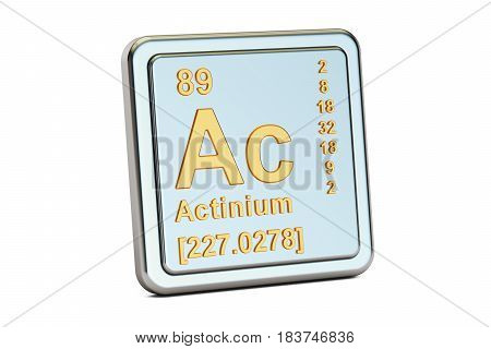 Actinium Ac chemical element sign. 3D rendering isolated on white background