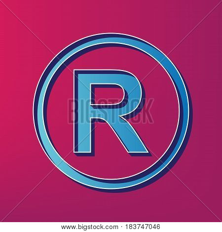 Registered Trademark sign. Vector. Blue 3d printed icon on magenta background.