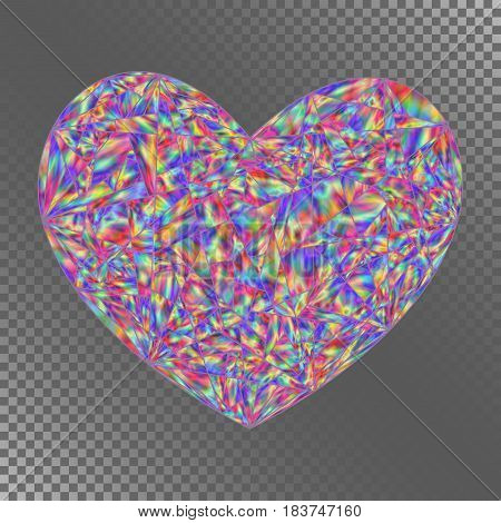 Isolated Object Iridescent Heart for Invitation Congratulation Greeting Card Postcard. Decorative Element with Realistic Holographic Effect.