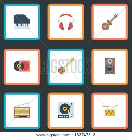 Flat Turntable, Acoustic, Retro Disc And Other Vector Elements. Set Of Studio Flat Symbols Also Includes Speaker, Banjo, Disc Objects.