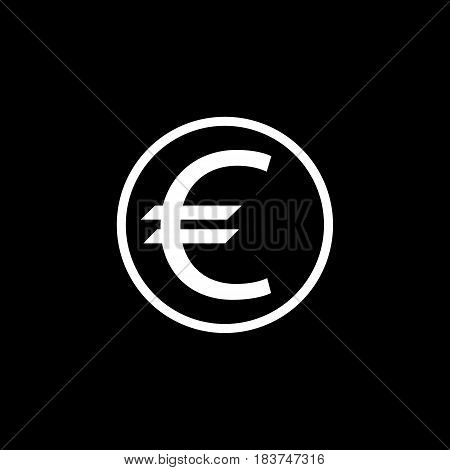 Euro coin solid icon, finance and business, euro sign vector graphics, a filled pattern on a black background, eps 10.