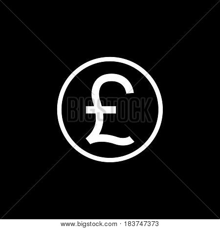 Pound sterling coin solid icon, finance and business, Pound sign vector graphics, a filled pattern on a black background, eps 10.