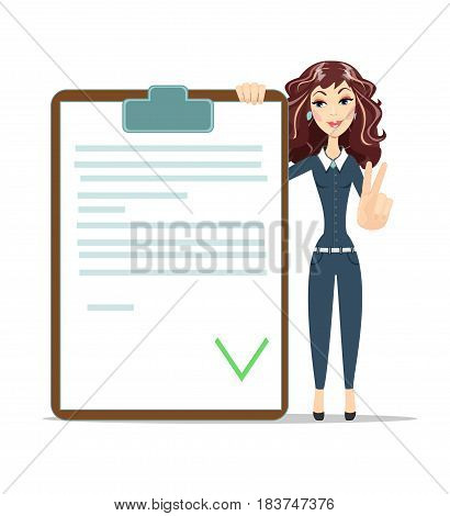 businesswoman with checklist. happy young woman Shows victory sign . Stock vector illustration