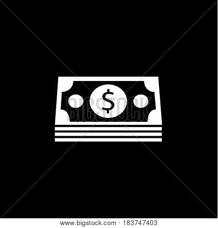 Bundle of money coin solid icon, finance and business, dollars sign vector graphics, a filled pattern on a black background, eps 10.
