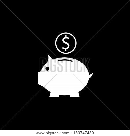 Piggy box solid icon, finance and business, money box with coin vector graphics, a filled pattern on a black background, eps 10.