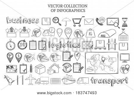 Hand drawn infographic logistic elements set with distribution and delivery business icons isolated vector illustration