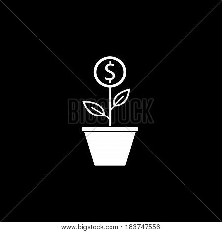 Money plant solid icon, finance and business, start up and economic growth vector graphics, a filled pattern on a black background, eps 10.