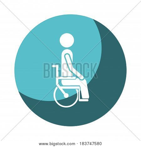 color circular frame shading with person sitting in abstract wheelchair flat icon vector illustration