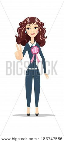 happy young woman victory sign. Stock flat vector illustration.