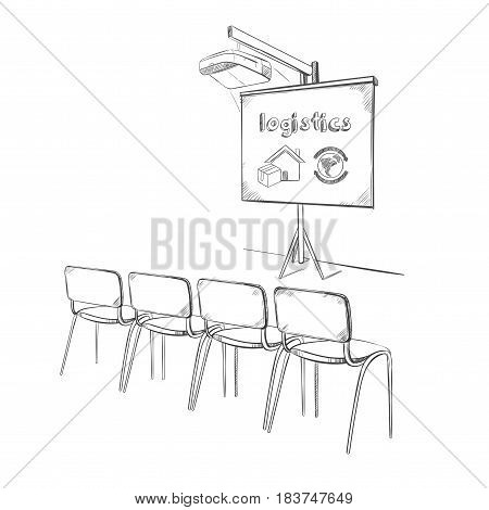 Hand drawn business logistic presentation concept with projector whiteboard and chairs isolated vector illustration