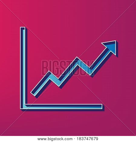 Growing bars graphic sign. Vector. Blue 3d printed icon on magenta background.