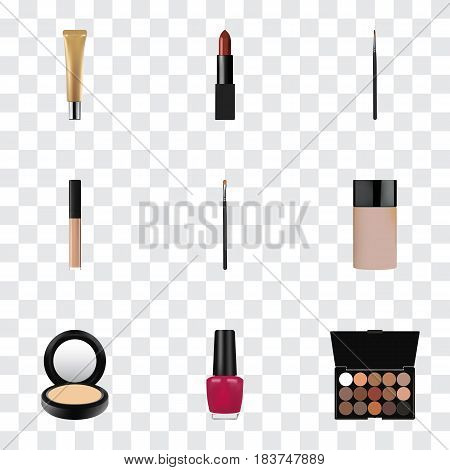 Realistic Concealer, Blusher, Multicolored Palette And Other Vector Elements. Set Of Cosmetics Realistic Symbols Also Includes Brow, Brush, Nail Objects.