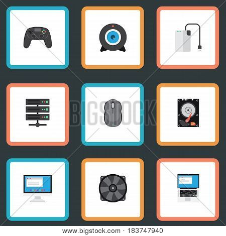 Flat Cooler, Hard Disk, Joystick And Other Vector Elements. Set Of Laptop Flat Symbols Also Includes Camera, Screen, Controller Objects.