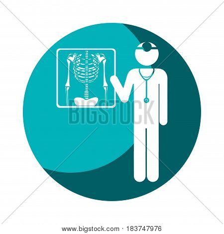 color circular frame shading with pictogram doctor and radiography vector illustration