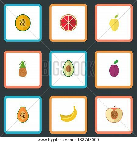 Flat Alligator Pear, Muskmelon, Peach And Other Vector Elements. Set Of Dessert Flat Symbols Also Includes Peach, Pear, Mango Objects.
