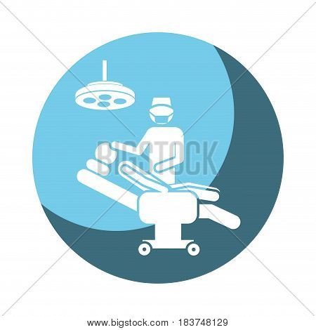 color circular frame shading with pictogram person with surgeon vector illustration