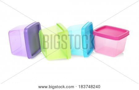 Colorful Rectangular Shape Plastic Containers Lying on White Background