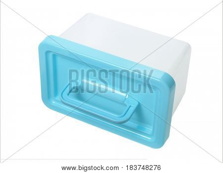 Plastic Container With Handle Lying on White Background