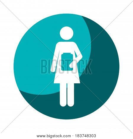 color circular frame shading with pictogram female with remedy bottle vector illustration